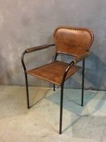 Стул кожаный STOOL LEATHER BROWN 2126. Кожа и металл. В Классическом стиле. Ручная работа. Сделано в Индии.IRO
