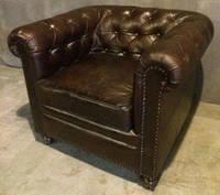 Кожаное кресло WOODEN LEATHER SOFA Chesterfield Vintage 1188. Натуральная кожа и ценная порода дерева.  Ручная