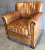 Кожаное кресло WOODEN LEATHER SOFA 1189. Натуральная кожа и ценная порода дерева.  Ручная работа. Сделано в Ин