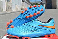 Футбольные бутсы Nike Hypervenom Phelon AG Blue/Orange/Black, фото 1