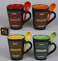 Кружка керамической с ложкой 325мл Coffee House, 4 вида