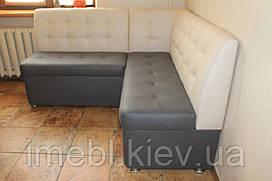 Кухонный мягкий уголок с ящиками для хранения по размеру кухни (молочный с серым)