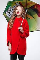 Модное шерстяное пальто ярко красного цвета, со стразами