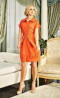 Коралловое платье из легкой ткани
