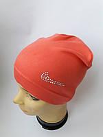 Детская трикотажная шапка с рисунком для девочки 5-7 лет оптом