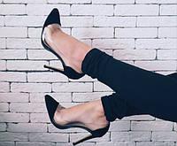Туфли лодочки замшевые черные с силиконовыми вставками 40р