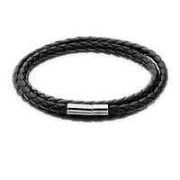 Кожаный плетенный браслет черный