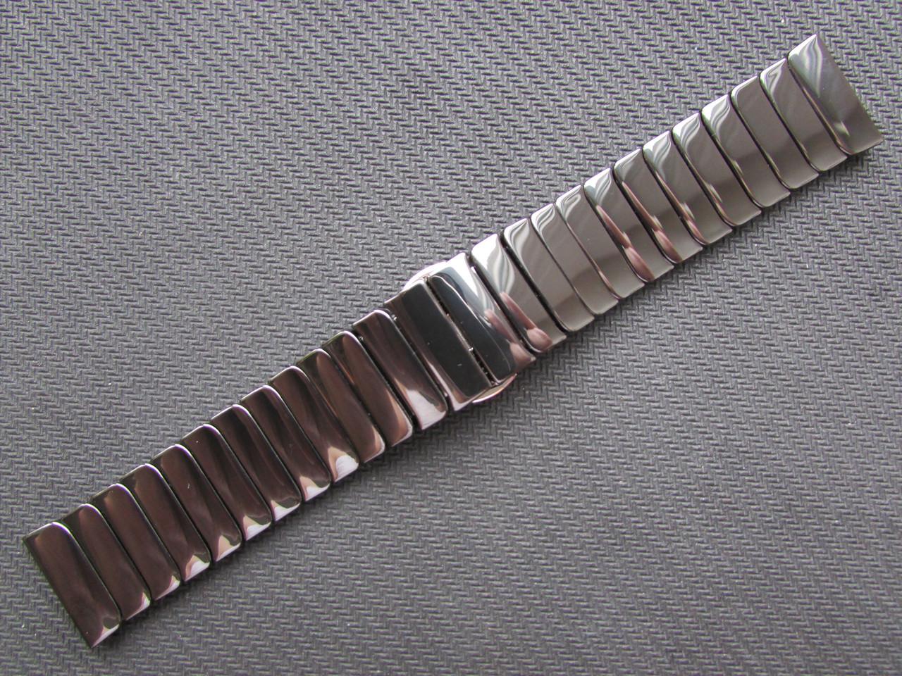 Браслет для часов керамический, глянец. Черный. 22 мм