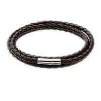 Кожаный плетенный браслет коричневый