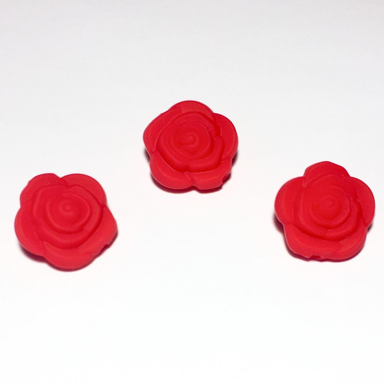 Розочка маленькая (красная) бусина из силикона