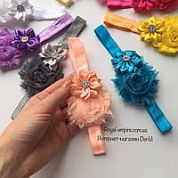 """Красивая повязка для малыша """"Радужный цветок""""."""