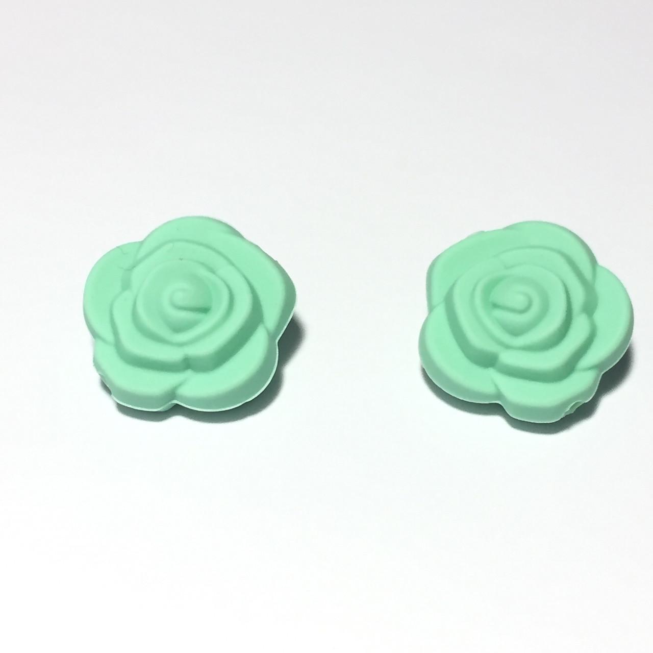 Розочка маленькая (мятная) бусина из силикона