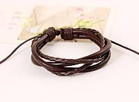 Коричневый кожаный плетенный браслет