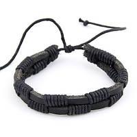 Чёрный браслет из натуральной кожи