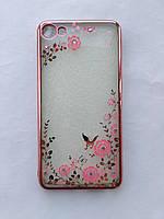 Силиконовый чехол для Meizu U10 с розовой рамкой со стразами, фото 1