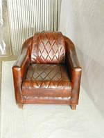 Кожаное кресло WOODEN CANVAS-LEATHER SH-2021. Натуральная кожа и ценная порода дерева.  Ручная работа. Сделано
