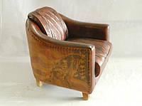 Кожаное кресло WOODEN CANVAS-LEATHER SH-2022. Натуральная кожа и ценная порода дерева.  Ручная работа. Сделано