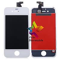 Дисплей для мобильного телефона iPhone 4, белый, с тачскрином AAA