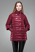Модная женская куртка-трапеция с пуговицами в два ряда, цвета марсала