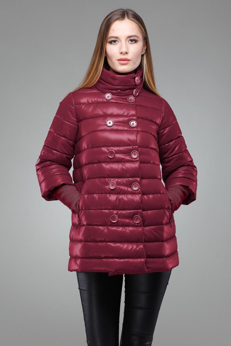 cad424e7502b Модная женская куртка-трапеция с пуговицами в два ряда, цвета марсала -  Интернет-