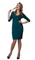 Женское платье Доминикана  деловое, элегантное, женственное  размер  44, 46, 48, 50, 52, 54, 56 бирюзовое