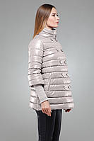 Утепленная демисезонная куртка-трапеция светло серого цвета