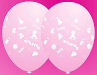 """Воздушные латексные шарики Малятко Дитя Baby 12"""", 30 см розовые"""