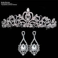 Комплект роскошных свадебных украшений: тиара/диадема и серьги невесты (для свадьбы/вечера/праздника)