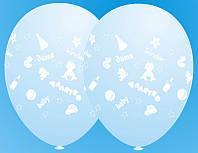 """Воздушные латексные шарики Малятко Дитя Baby 12"""", 30 см голубые"""
