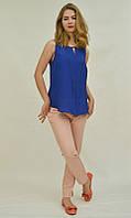 Стильная летняя блузка-майка, цвет электрик 55095 MEES Турция, фото 1