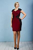 Бордовое весеннее платье с гипюровыми нашивками Тринити
