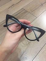 Очки кошечки имиджевые, прозрачное стекло, не для зрения