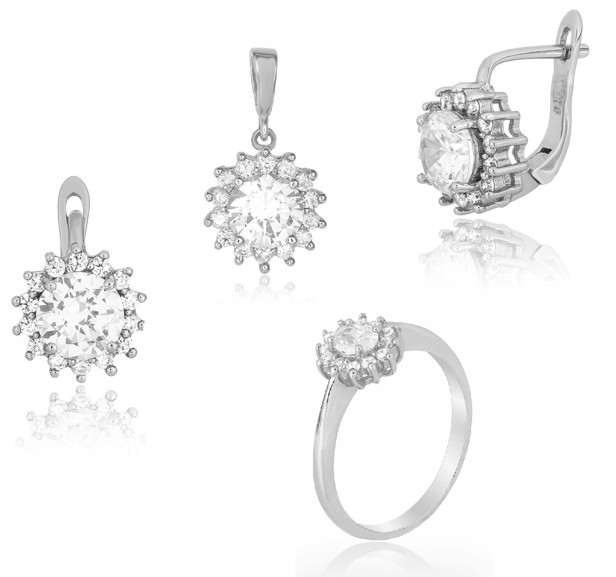 104e62b987e5 Серебряный набор кольцо, серьги и подвес