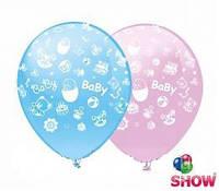 """Воздушные латексные шарики Baby розовый и голубой, шелкография 12"""" (30 см) ТМ Show"""