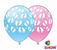 """Воздушные латексные шарики Ножки розовый и голубой шелкография 12"""" (30 см) ТМ Show"""