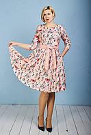 Персиковое платье с пышной юбкой принтом Мелани