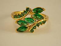 Кольцо Позолота 24к с россыпью зеленых камней Размер 16.5 10911372059-16.5