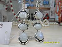 Тройные серьги с натуральным лунным камнем в серебре. Индия!