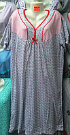 Женская котоновая ночная  рубашка D45 (р.XL-5XL) купить оптом