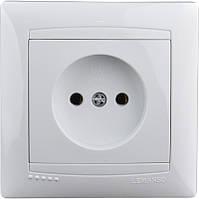 Розетка  керамика 1-я LEMANSO Сакура белая LMR1015
