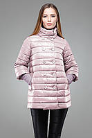 Модная удлиненная куртка-трапеция с рукавами 3/4, цвета пудры