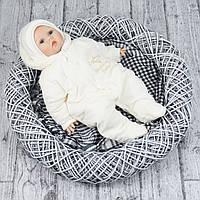 """Молочный комбинезон осень -зима р.62, 68 """"Baby Brilliant"""" для новорожденных в роддом (на махре)"""