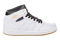 Мужские кожаные белые высокие кроссовки Restime