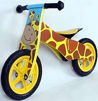 Велосипед беговой велокат Milly Mally беговел Duplo Giraffe надувные колеса дерево Польша