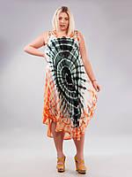 Сарафан-разлетайка на кокетке зелено-оранжевый, на 50-56 размеры