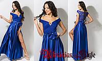 Синее вечернее платье в пол с разрезом и декольте