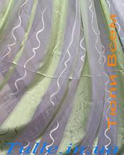 Тюль шифон зеленая полоса с волной