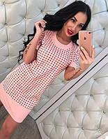 """Модное, женское мини-платье с короткими рукавами  """"Котон, декор - мелкие камни"""" РАЗНЫЕ ЦВЕТА"""