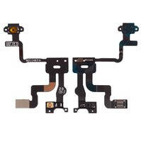 Шлейф для мобильного телефона Apple iPhone 4S, кнопки включения, c датчиком приближения, с компонентами