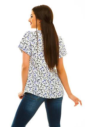 Блузка  319  якорь синий, фото 2